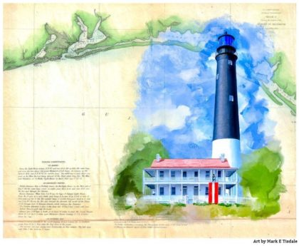 Pensacola Coast - Historic Florida Map and Lighthouse Print by Mark Tisdale