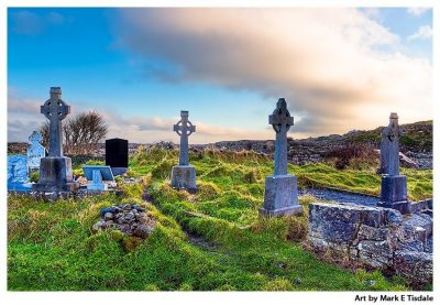Art Print of a landscape of Celtic Crosses - Aran Islands Cemetery - Inis Mór