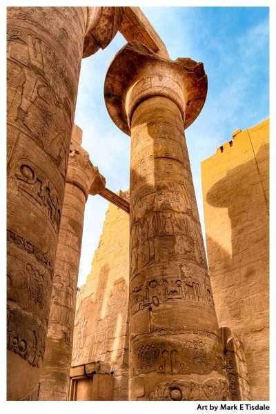 Art print of the columns of the Great Hypostyle Hall at Karnak Temple