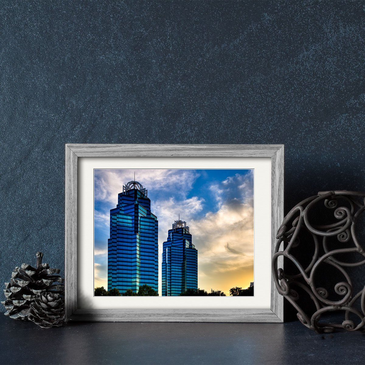 King And Queen Towers Framed Print - Atlanta Skyscrapers