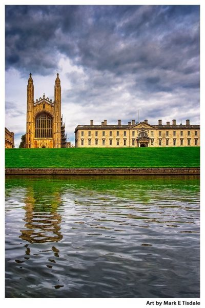 Art Print of Kings College from the River Cam - features the Gothic Chapel