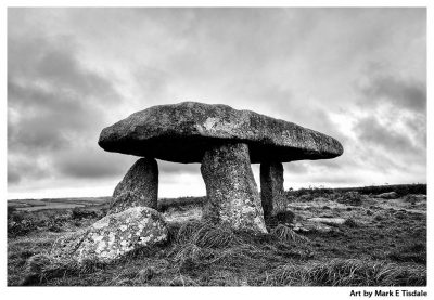 Art Print of a Neolithic Dolmen in Cornwall - Lanyon Quoit