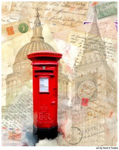 Art Print Of A Classic Red British Post-box in London