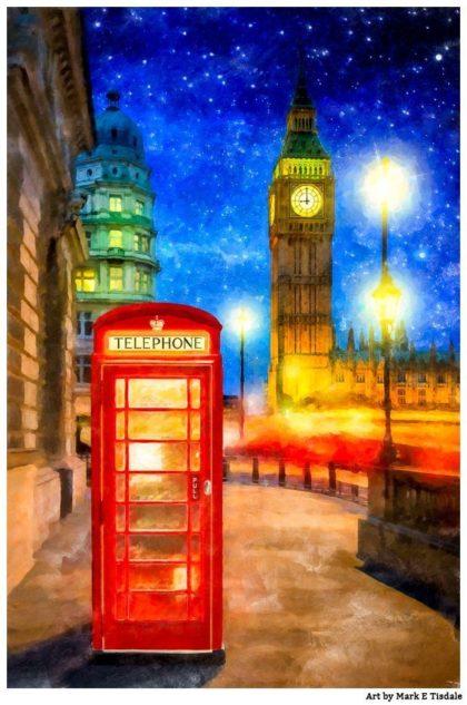 London Phone Box Art Print by Mark Tisdale