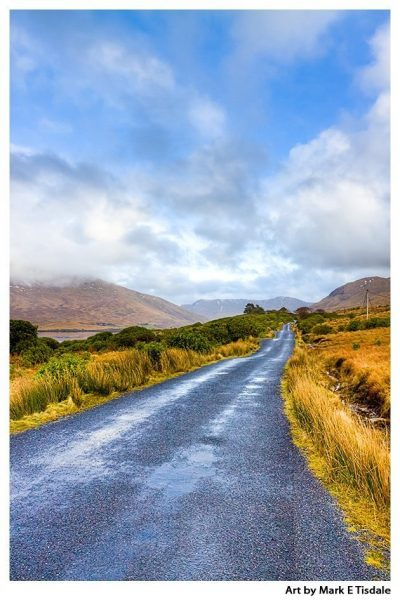 Art Print of a Lonesome Road in the Irish Countryside - Connemara