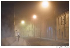 Art Print of a Foggy Night in Galway Ireland
