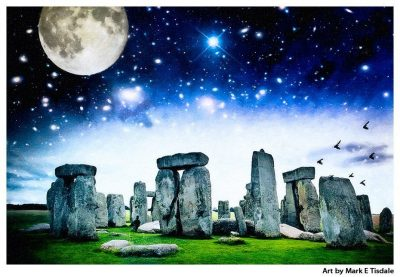 Art print of a Magical Stonehenge Landscape - Ancient Standing Stone Circle
