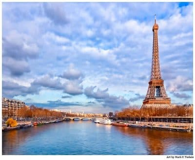 Art print of the Eiffel Tower On the Banks of the Seine in Paris