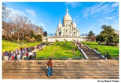 Art print of the hill in Montmartre, Paris - Sacré Coeur Basilica at the top
