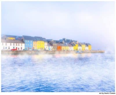 Art print of the Galway Waterfront in a thick morning fog