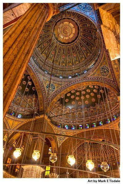 Art print of the Interior of the Mosque Domes of Muhammad Ali Pasha in Cairo's Citadel