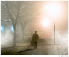 Art print of an old man walking on the Claddagh on a foggy night in Galway Ireland