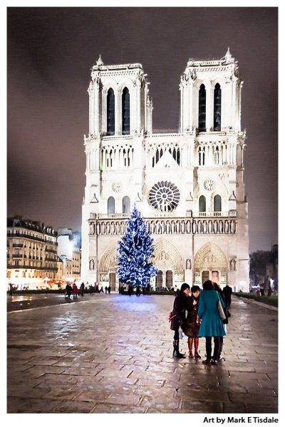 Art Print Of Notre Dame Cathedral At Night - Paris After Dark