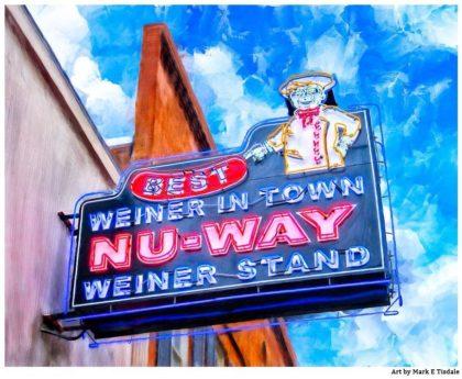 Nu-Way Weiners Sign - Macon Georgia Landmark Print by Mark Tisdale