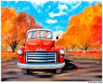 Old Red Truck Art Print with bold Autumn Colors