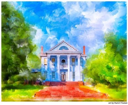 Old South Art - Plantation Style Home Print by Georgia artist Mark Tisdale