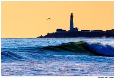 Blue and Gold art print of Pigeon Point Lighthouse on the Northern California Coast