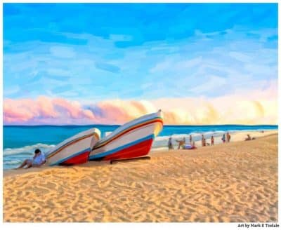 Art print of a beach sunset at Playa del Carmen Mexico