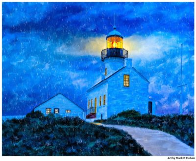 Old Point Loma Lighthouse At Night - San Diego Art