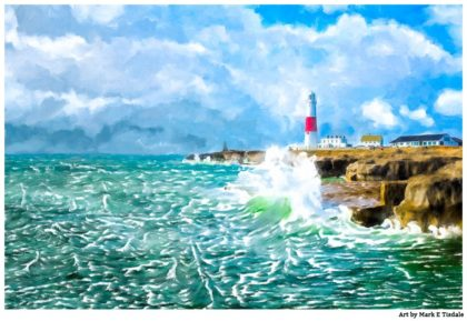 Portland Bill Lighthouse - Clearing Storm on Dorset Coast - England Print by Mark Tisdale