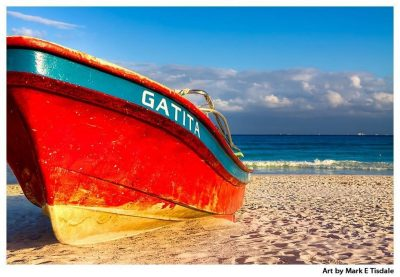Art Print of a Beached Red Boat - Playa del Carmen