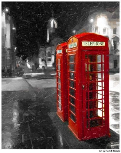 Art Print of Red British Telephone booths on the royal Mile - Edinburgh