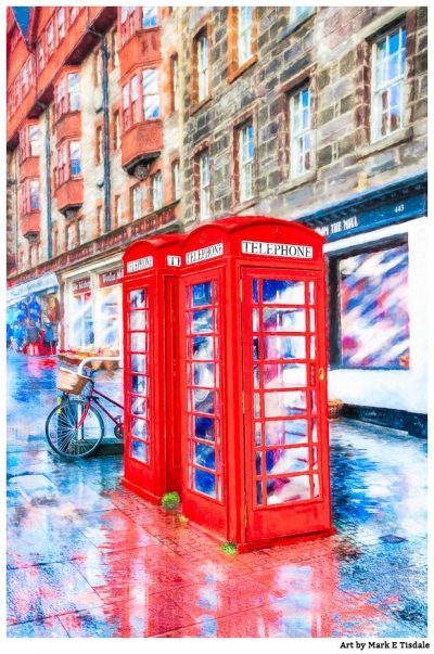Art Print Of Red Telephone Boxes On The Royal Mile in Edinburgh Scotland