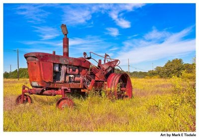 Art print of a rust red tractor in a golden landscape in rural Georgia