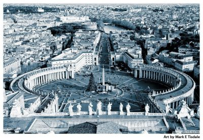 Black and white art print of Saint Peter's Square In The Vatican - Rome