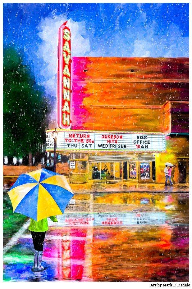 Savannah Theatre In The Rain – Art Print