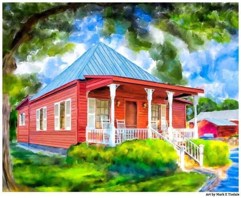 Red Cottage Art Print