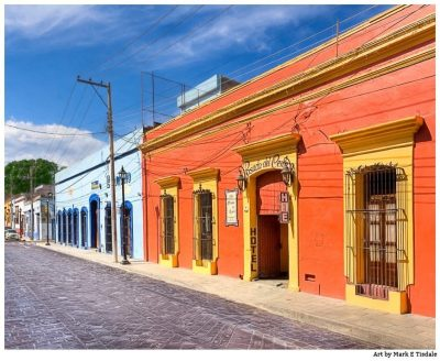 Art print of the Vibrant Spanish Colonial Architecture of Oaxaca