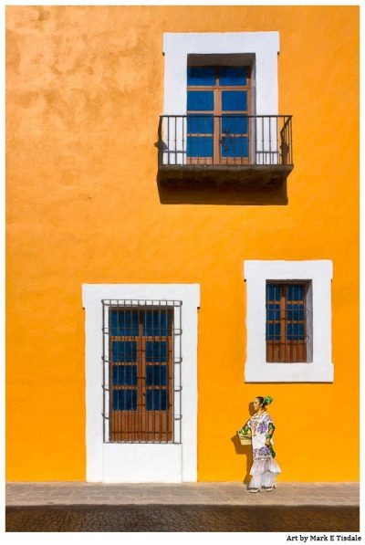 Art Print of Gold Spanish Colonial Architecture - Puebla Mexico