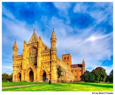 Art print of St Albans Abbey - British church under dramatic skies