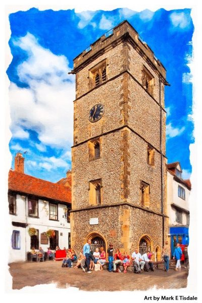 Art Print of St Albans Clock Tower - Medieval Architecture