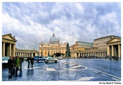 Art print of a Winter Day at St Peter's Basilica in the Vatican