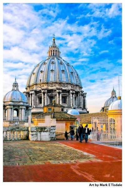Art print of St Peter's Dome in the Vatican