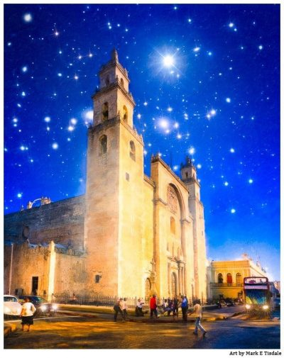 Art Print of a Starry Night in Mexico - Mérida Cathedral