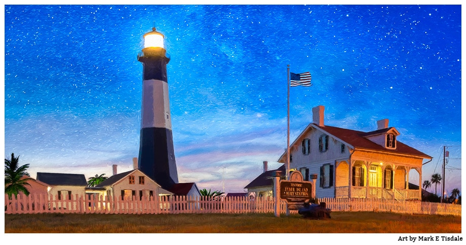 Tybee Island Lighthouse At Night - Fantasy Art