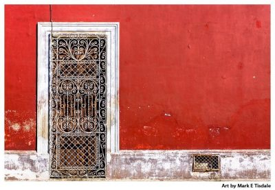 Art Print of Vibrant Mexican Architecture - Doorway on Red