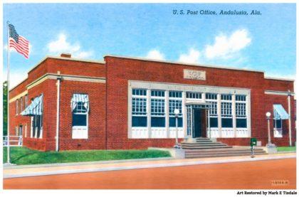 Vintage Andalusia Alabama Postcard - Historic Post Office