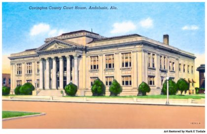Vintage Courthouse Postcard - Restored Andalusia Alabama Art