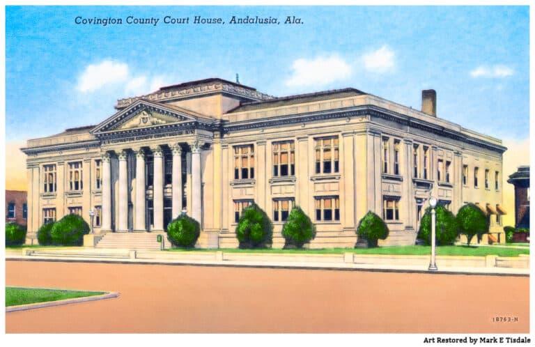 Vintage Courthouse Postcard – Covington County, Alabama