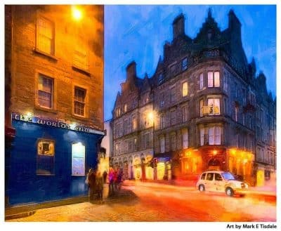 Art Print of The Royal Mile At The World's End Pub in Edinburgh