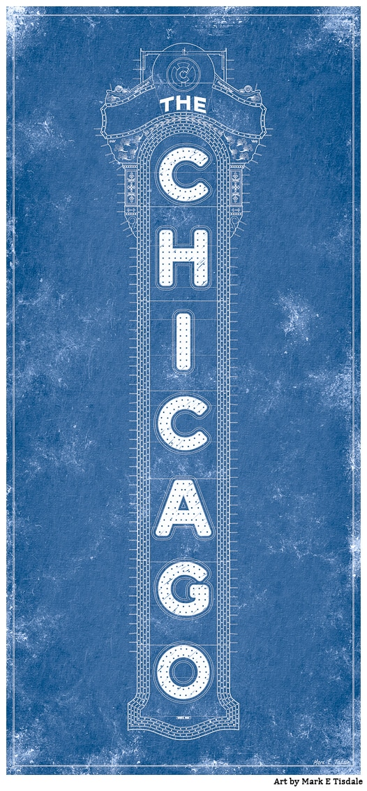 Chicago Theatre Marquee Blueprint Art