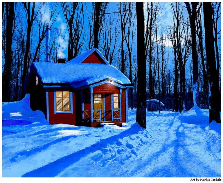 Winter Cabin Art – Moonlit Woods