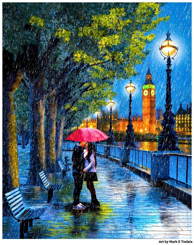 Romantic London Art – Kiss In The Rain
