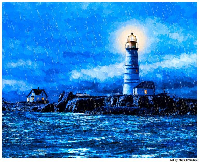 Boston Lighthouse Art – Historic Little Brewster Island