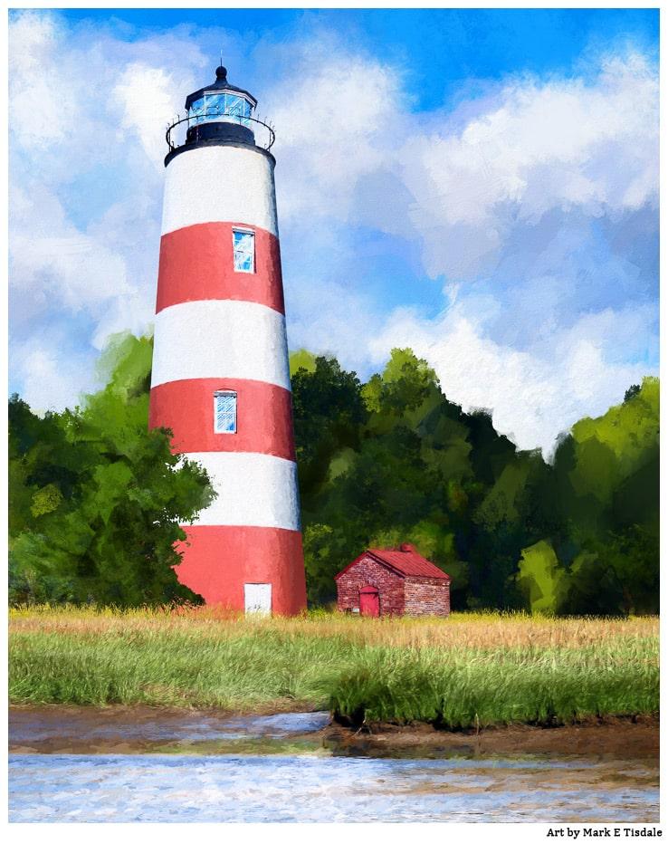 Sapelo Lighthouse Art – Coastal Georgia Scene