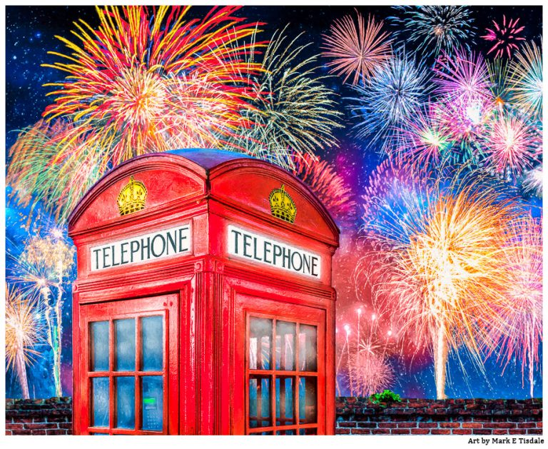 Red Phone Booth Art With Brilliant Fireworks